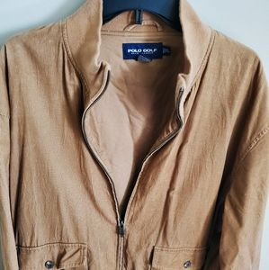 Men's Polo Golf Light Brown Zip Up Jacket, SIZE XL
